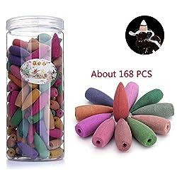 Simcat Räucherkegel mit Rückfluss, 168 Stück gemischt, Sandelholz, Aromatherapie, Tibetische Räucherkegel mit natürlichem Duft für Rückfluss-Räuchergefäß/Halter, Rose Lavendel