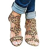 TianWlio Sandalen Damen Sommer Wedges Leopard Beiläufig Schuhe Gurt Gladiator Römer Sandalen Braun 43
