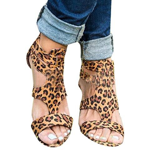 FRAUIT Sandalias Mujer Verano CuñAs De Leopardo Zapatos Casuales Gladiador De Correa Sandalias Romanas Sandalias De Playa Mujer Sandalias Y Chanclas Para Mujer