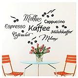 Wandaro W3302 Wandtattoo Kaffee I Schwarz 80 x 41 cm I Cappuccino Espresso Milchkaffee Küche Esszimmer Selbstklebend Aufkleber Wandaufkleber Wandsticker