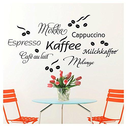 Wandaro Wandtattoo Kaffee Bar I schwarz 80 x 41 cm I Cappuccino Espresso Milchkaffee Küche Esszimmer selbstklebend Aufkleber Wandaufkleber Wandsticker W3302 - Espresso-esszimmer