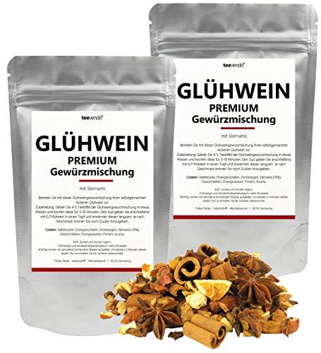 100g teevendo Punsch Glühwein Gewürz Premium (2x50g) Glühweingewürzmischung Gewürz für Glühwein