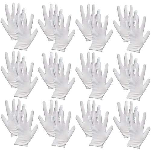 12 Pairs of Multi Purpose Mime Fancy Dress 100% Cotton White Gloves