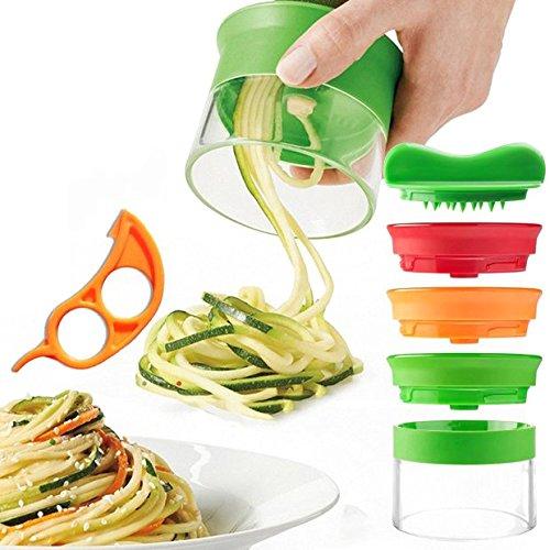 3 Klingen Spiralschneider Hand für Gemüses kartoffel Gurken Obst, eine Bürste für die Reinigung, eine Schäler für die Öffnung von Orange usw (1) -