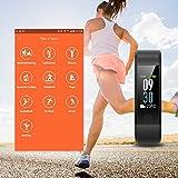 Muzili Fitness Armband IP68 Wasserdicht Fitness Tracker Sport Uhr Fitness Uhr Aktivitätstracker schrittzähler Pulsuhren Smart Watch Fitness Uhr für Kinder Frauen und Männerr(Black+Green) - 3