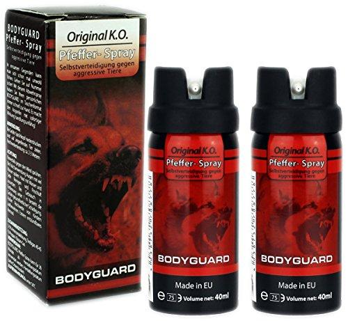 GYD Doppelpack 2x Bodyguard 40ml. Orginal K.O. Pfefferspray für die Selbstverteidigung gegen Aggresive Angriffe