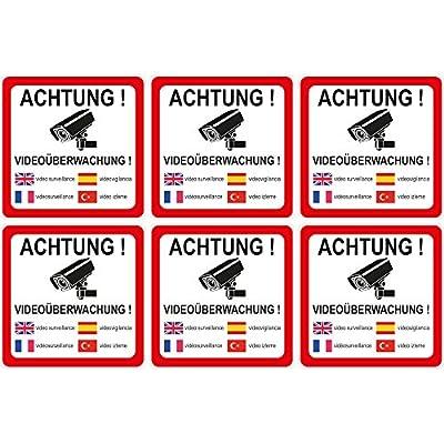 """wall-art-design® 6 Stück Aufkleber """"Achtung Videoüberwachung"""" 90x90 mm, 5-sprachig selbstklebend, kratz und Wetterfest"""