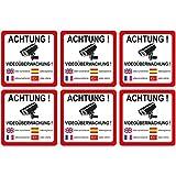 6 Stück Aufkleber Achtung Videoüberwachung 90x90 mm, 5-sprachig selbstklebend, kratz und Wetterfest