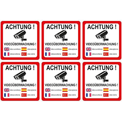 """wall-art-design® 6 Stück Aufkleber """"Achtung Videoüberwachung"""" 90x90 mm, 5-sprachig selbstklebend, kratz und..."""