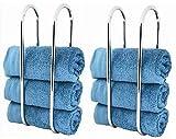 2 x Chrome Bathroom Wall Mounted Storage Double Towel Rail Rack Holder Rail Sabichi New