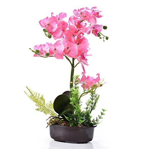 Künstliche Blumen, Simulation der Bonsai-Phalaenopsis-Orchidee mit Topf für Heim-Dekoration und Ornamente rose (Blätter Dekorationen Herbst Im)