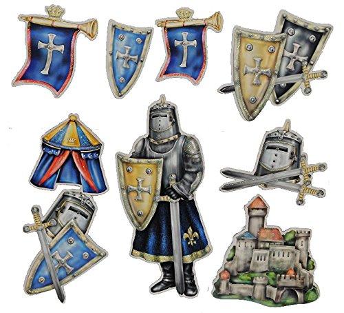 Unbekannt 11 tlg. Set 3-D ! Wandtattoo / XL Sticker aus Pappe - Ritter Ritterburg Schild selbstklebend Aufkleber - Wandsticker für Kinder Jungen