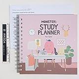 Monster Study Planning pour 1an avec Ahzoa Mini Règle et traduction en anglais papiers About coréen Sous-titres, Agenda scolaire pour étudiant Pink....