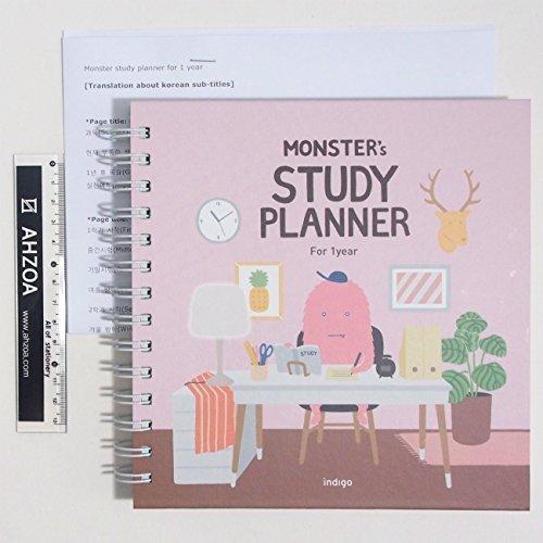 Monster Study Planer für 1 Jahr mit AHZOA Mini-Lineal und englischen Übersetzungspapieren über koreanische Untertitel, Akademischer Planer für Studenten rose