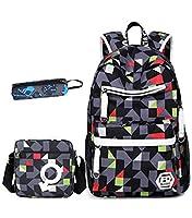Teenage Girls Boys Geometric Patterns School Bag Students Backpack Casual Rucksack + Messenger Bag + Pencil Case (Grey)