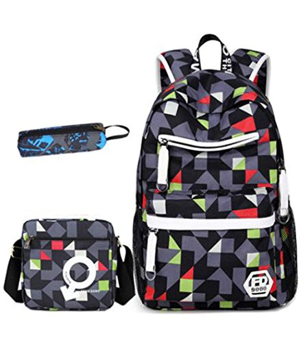 Teenage Girls Boys Geometric Patterns School Bag Students Backpack Casual Rucksack + Messenger Bag + Pencil Case (Grey)