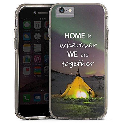 Apple iPhone X Bumper Hülle Bumper Case Glitzer Hülle Heimat Zelten Natur Bumper Case transparent grau