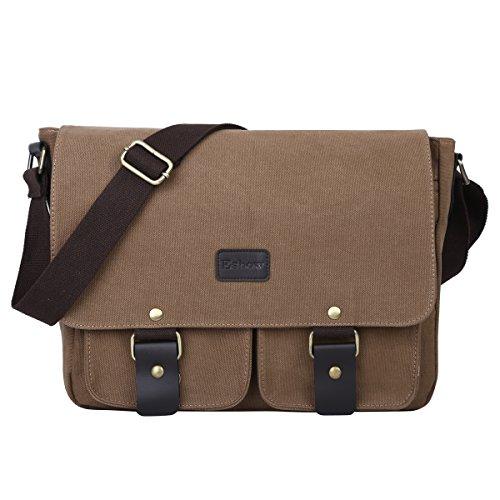 Eshow Umhängtasche Laptoptasche klein für Damen & Herren 14 Zoll braun mit Handyfach zum Business Büro Arbeit Bibliothek Uni -