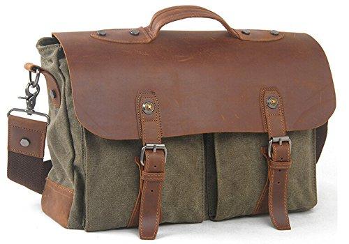 Vintage Retro Casual Canvas Leder Cross Body Umhängetasche Handtasche 15 Zoll Laptop Tasche für Männer Armee Grün