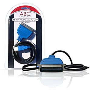 ABC Products® USB - Parallel Port Adapter Cable Adaptateur Parallèle IEEE1284 pour Brother Canon Epson Stylus Lexmark HP Hewlett Packard Imprimante Imprimer Printer avec 36 Contacts/Pins IEEE-1284 Centronic WIN 98SE, 2000, XP, Vista, 7, 8, MAC os V8.6~9.2 plus