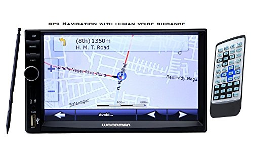 Woodman Best Selling Double Din With GPS Navigation Bluetooth/USB/FM/Calling (Full Hd 1080 Pixels) Car Media Player (Genuine 6 Months Warranty)