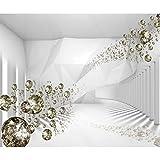 decomonkey Fototapete selbstklebend 3d Effekt Abstrakt 343x256 cm XL Selbstklebende Tapeten Wand Fototapeten Tapete Wandtapete klebend Klebefolie Diamanten Modern weiß gold