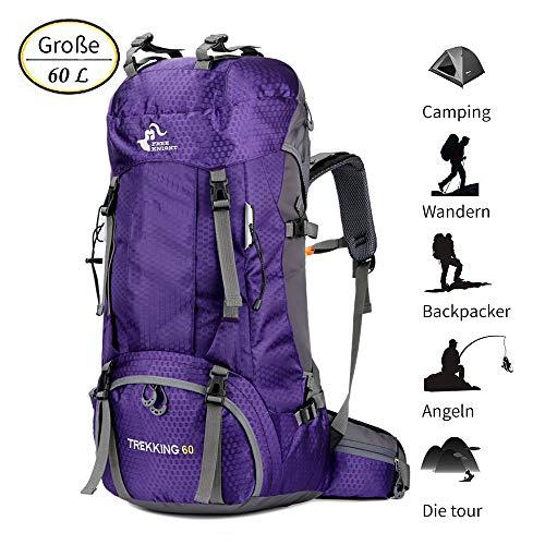 Free Knight 60L Wasserdichter, ultraleichter, packbarer Kletterfischer Reiserucksack Tagesrucksack, Rucksack, handliche Faltbare Camping Outdoor-Rucksack-Tasche mit Regenschutz (Violett)