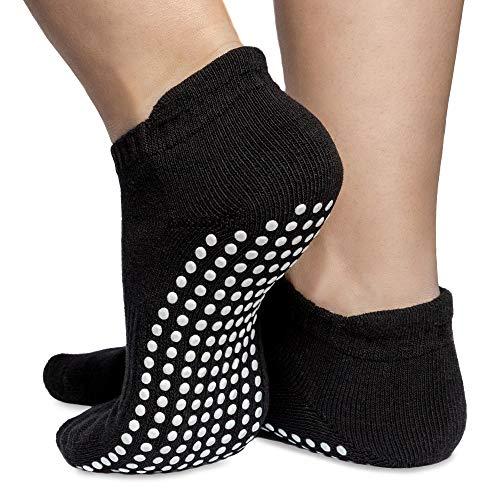 Skyba Antirutsch Socken Stoppersocken Noppensocken - Grips für Barre, Pilates, Yoga, Schwangerschaft- (Multi Pack) (Medium (EU 39-41), 2-Paar Schwartz)