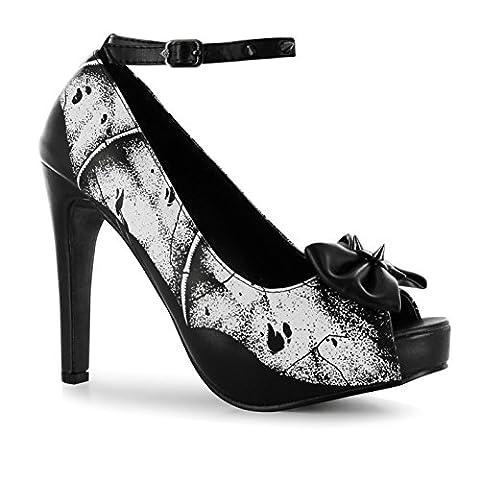 Iron Fist Crypt Keeper Hi Heels Platform Shoes Womens Black/Wht