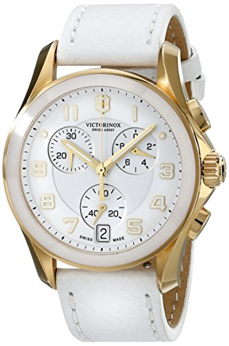Victorinox Women's 40mm White Calfskin Band Gold Tone Steel Case Swiss Quartz Chronograph Watch 241511