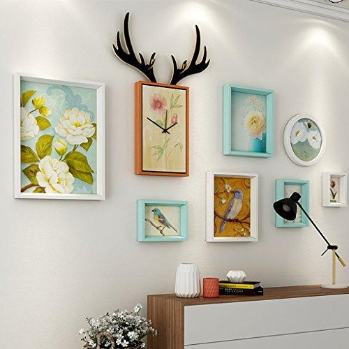 & Wandmontage Design Wohnzimmer Massivholz Bilderrahmen Wand Sets Von 7, hängen Bilderrahmen Wand Wohnzimmer Schlafzimmer Kombination Bilderrahmen Wand Sofa Hintergrund Bilderrahmen Wand ( Farbe : A , größe : 7frames/156*87CM )