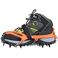 Crampones - SODIAL(R) 2 x zapatos de crampones de 12 dientes de garras antideslizantes cadena de cubierta de acero inoxidable al aire libre de esqui de senderismo en tipos variedad de terreno,naranja
