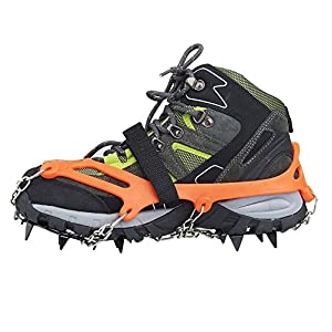 Crampones – SODIAL(R) 2 x zapatos de crampones de 12 dientes de garras antideslizantes cadena de cubierta de acero inoxidable al aire libre de esqui de senderismo en tipos variedad de terreno,naranja