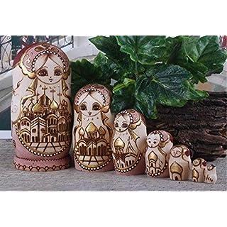 ankko 7handgefertigt Holz Nesting Dolls Matroschka russische Puppe, grün