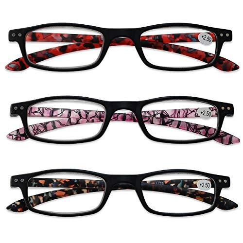 KOOSUFA Lesebrille Damen Herren Schmal Rechteckige Lesehilfen Augenoptik Modern Vintage Qualität Vollrandbrille Arbeitsplatzbrille mit Stärke 1.0 1.5 2.0 2.5 3.0 3.5 4.0 (3 Farben Set, 4.0)