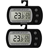 Fridge Thermometer, Glamouric Waterproof Digital Freezer Refrigerator Thermometer with LCD Display and Max/Min Function for Home Kitchen Restaurants Bars Cafes (Black - Pack of 2)