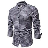 NINGSANJIN Herren Hemd aus Bambusfaser umweltfreudlich Elastisch Slim Fit für Freizeit Business Hochzeit Reine Farbe Hemd Langarm Herren-Hemd (Grau,2XL)