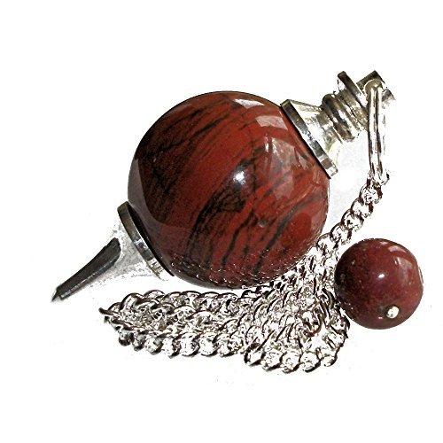 Pendolino sferico di Pietra Preziosa, Pendolo di Cristallo per Radioestesia, Rabdomanzia, Divinazione e Cristalloterapia (Diaspro Rosso)