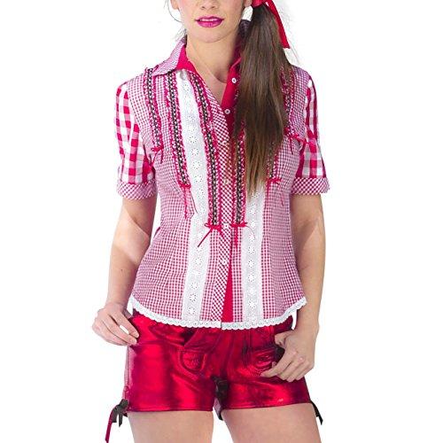 Trachtenbluse Karo Deluxe Damen rot-weiß mit Spitze und Rüschen zum Oktoberfest - M (Mieder Baumwolle Rüschen)