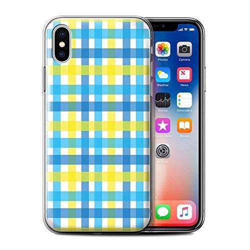 Stuff4 Gel TPU Hülle / Case für Apple iPhone X/10 / Heiß Strand Streifen Muster / Gelbe Mode Kollektion Gewebter Gingham