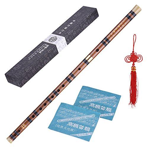 ammoon Enchufable Flauta de Bambú Amargo Dizi Tradicional Hecho a Mano Musical Chino Instrumento de Viento de Madera Clave de D Nivel de Estudio Profesional Actuación
