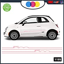 Abarth - Juego de tiras adhesivas para Fiat 500, mod. 1195 Rosa