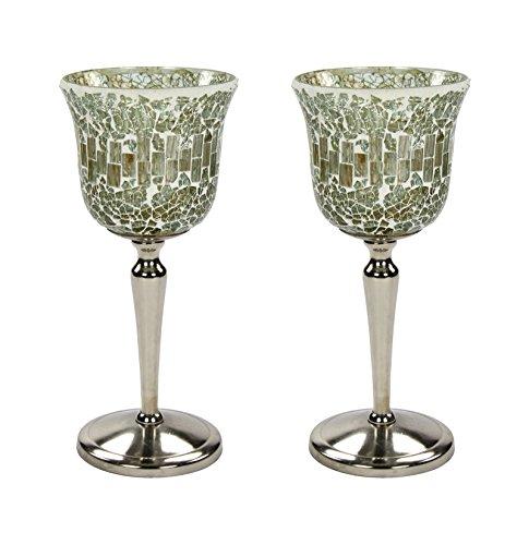Glas-postfach Antike (2 Stk. Mosaik Kerzen Glas mit Fuß hell)