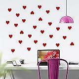 WINOMO Pegatinas de pared en forma de corazón etiqueta engomada del vinilo para dormitorio Decoración de sala de estar(rojo)