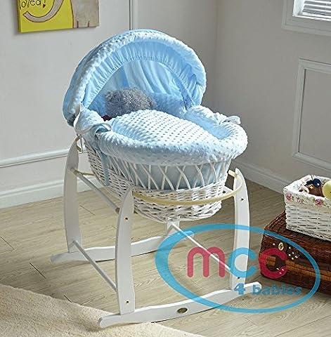 MCC Ensemble Couffin en osier naturel avec matelas, habillage couleur Bleu Coton gaufré et pied de couffin à bascule (Bleu)