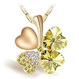 Joyfulshine Collar Mujer Amarillo Cristales Trébol Colgante Forma del Corazón Oro 18K Plateado,Regalo De La Suerte para La Mchacha Y La Señora