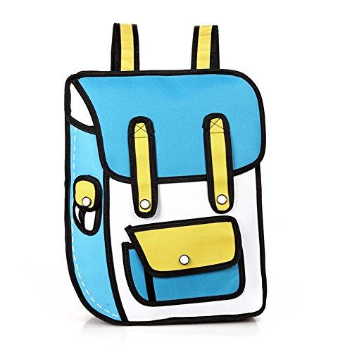 Kidslove Cartoon Rücksack 3D Jump Style-2D-Zeichnung schulrucksäcke Schultasche Rucksack Picknicktasche Lunchpaket Sports Bag Unisex Tasche (Blau)