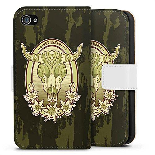 Apple iPhone X Silikon Hülle Case Schutzhülle Tattoo Indianer Cowboy Sideflip Tasche weiß