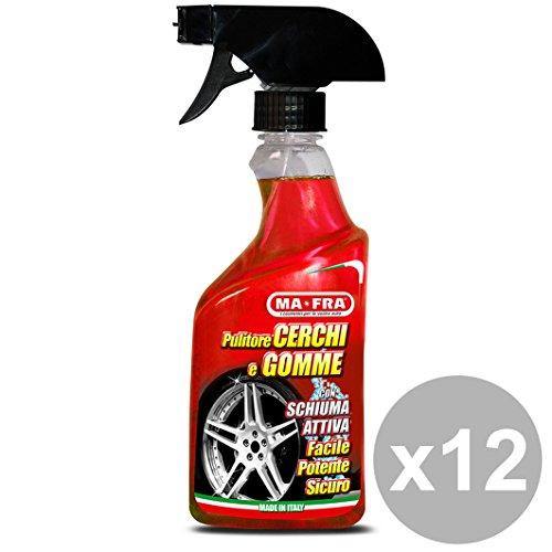 MAFRA Set 12 Pulitore Cerchi&Gomme 500Ml Cura Pulizia E Lavaggio Automobile