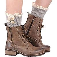 calcetines botas calcetines navidad, Sannysis 2pcs Mujer de encaje de Calcetines, calcetines termicos mujer Calentadores de piernas Calcetines Puños elásticos para mujer (Plata)
